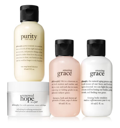 philosophy, travel size purity made simple, renewed hope moisturizer, amazing grace shower gel, amazing grace body lotion