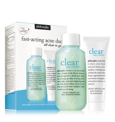 philosophy, clear days ahead oil-free salicylic acne cleanser and moisturizer