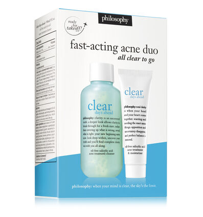 philosophy, clear days ahead travel cleanser and moisturizer set