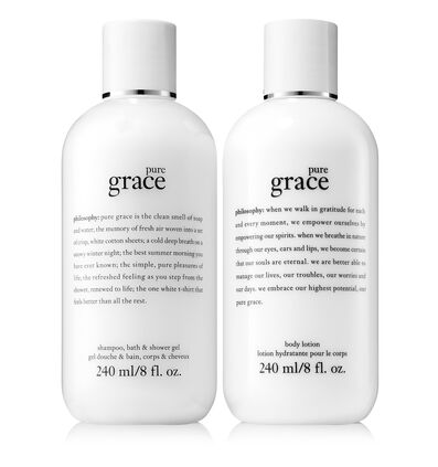 philosophy, pure grace shampoo, bath & shower gel and pure grace body lotion