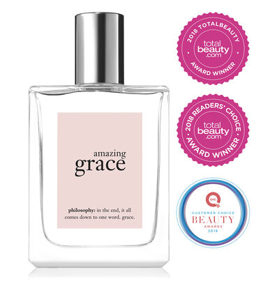 philosophy, amazing grace spray fragrance, 2018 total beauty award winner, 2018 customer choice QVC award winner