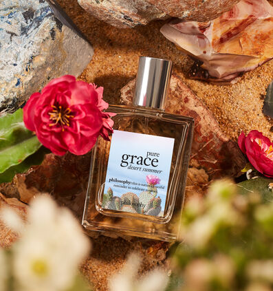 philosophy, pure grace desert summer spray fragrance, with background