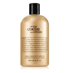 orange cocoa and cream shampoo, bath and shower gel