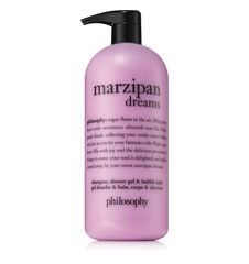 philosophy, marzipan dreams shampoo, shower gel, and bubble bath