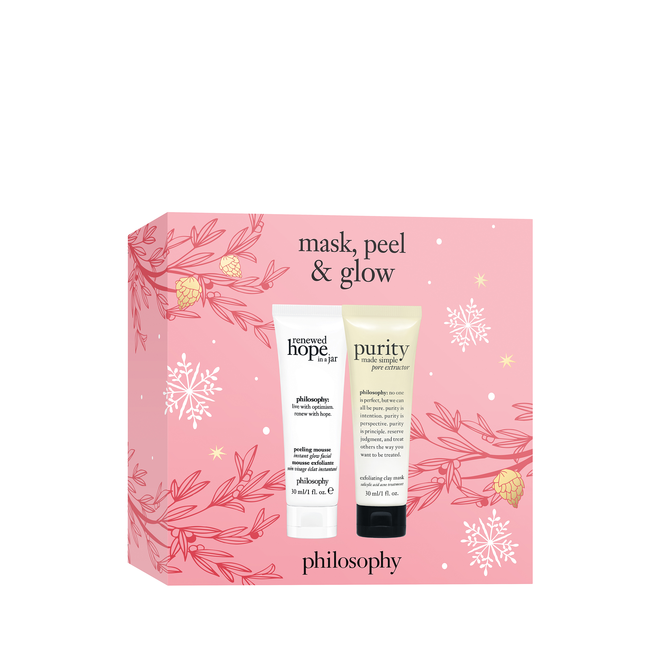 mask, peel & glow set 2-piece skin care set