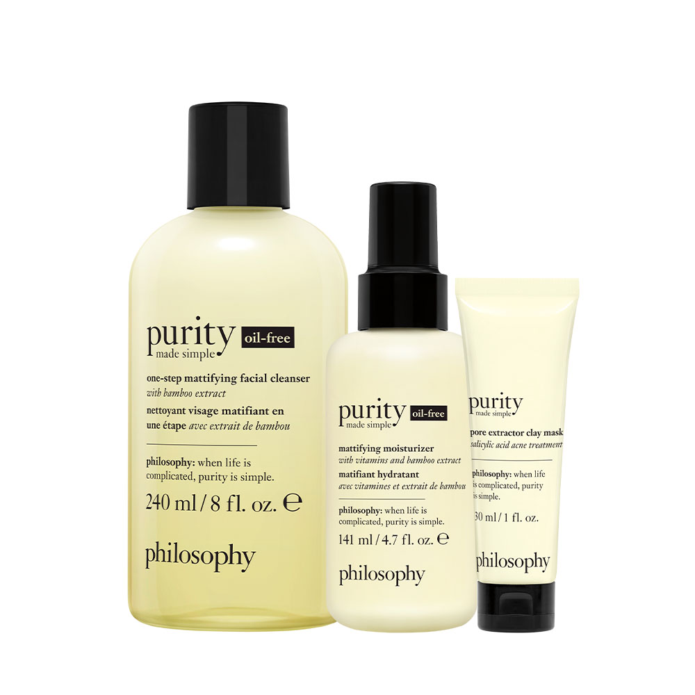purity made simple 3-piece cleanse, moisturize, & exfoliate holiday gift bundle