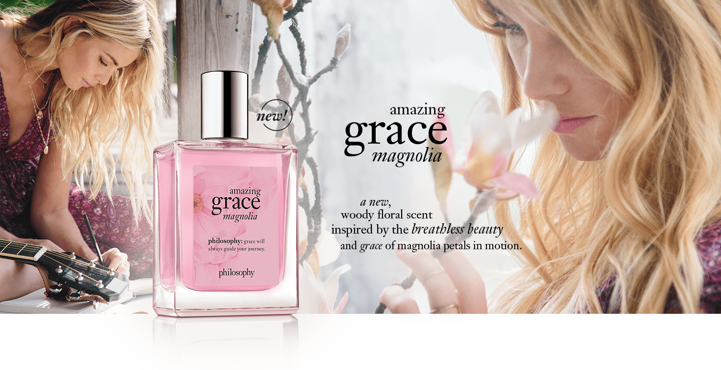amazing grace magnolia fragrance - a new woody floral scent inspired by the breathless beauty and grace of magnolia petals in motion