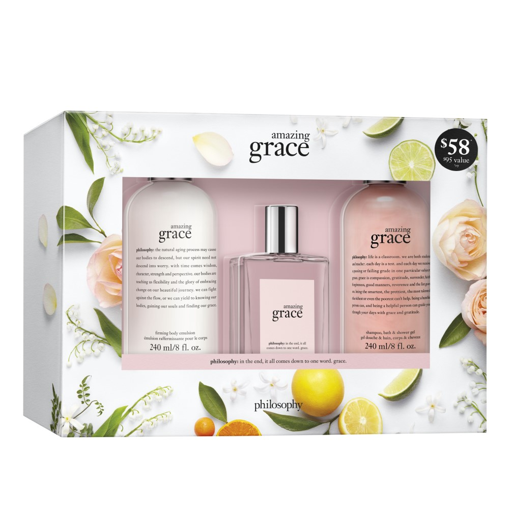 amazing grace shower gel, eau de toilette, & body lotion gift set