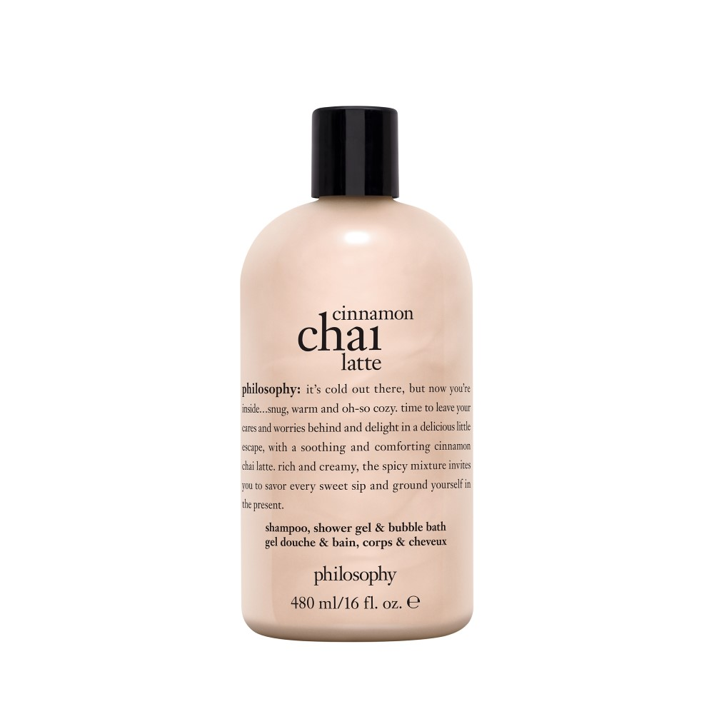 cinnamon chai latte shampoo, shower gel & bubble bath
