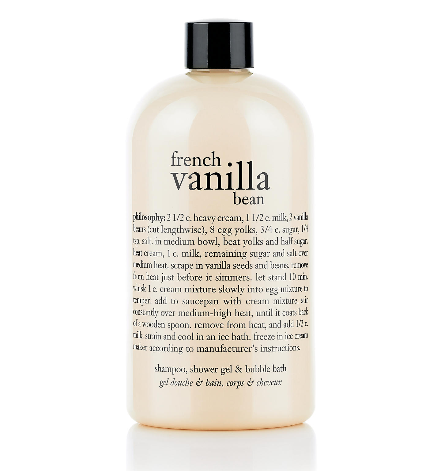 french vanilla bean shampoo, shower gel & bubble bath