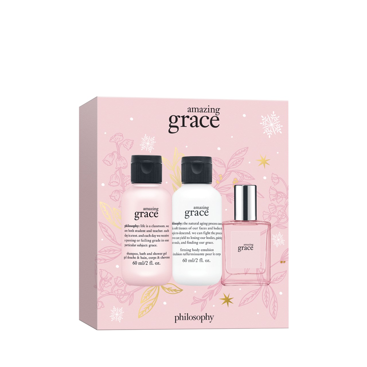 mini amazing grace mini shower gel, eau de toilette, & body lotion gift set