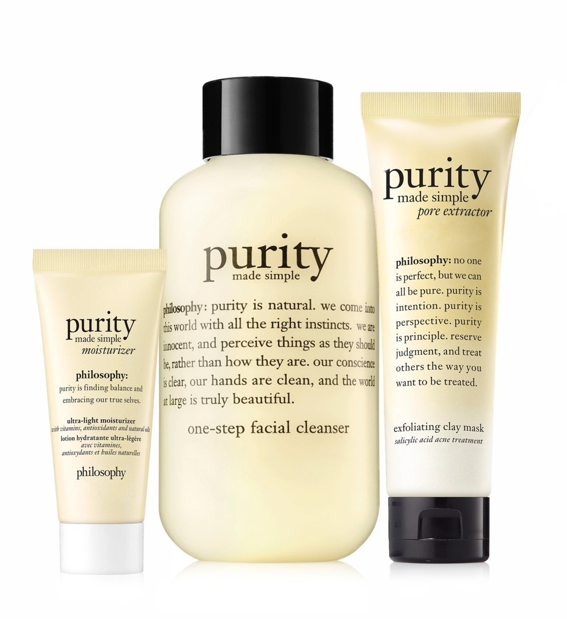 purity party prep purity made simple cleanser, pore extractor mask, & moisturizer