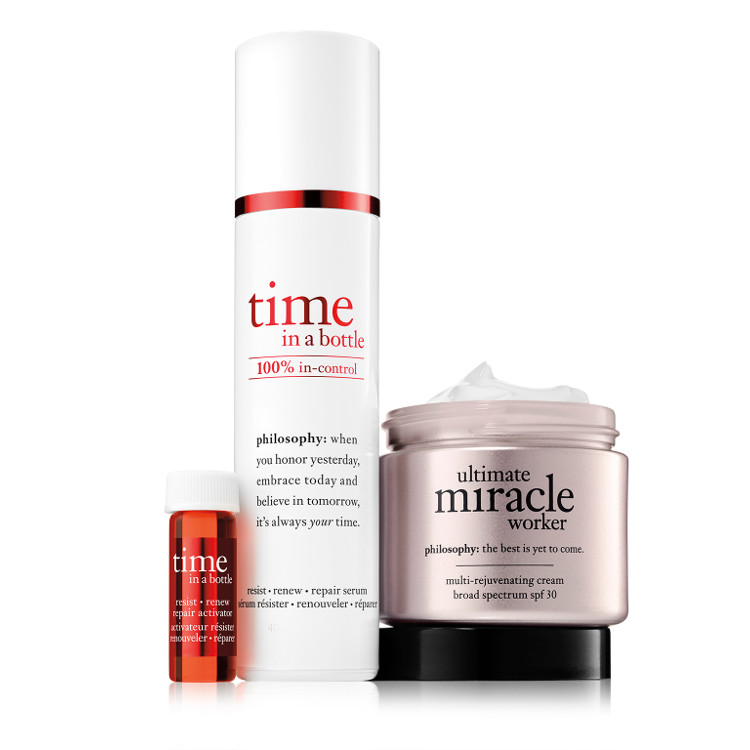 better together duo time in a bottle face serum and ultimate miracle worker moisturizer